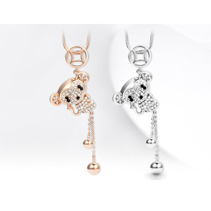 N-6020  Fashion high quality silver/gold plated tassel pendant necklace mickey mouse charm crystal rhinestone necklaces for women jewelry