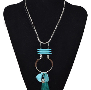 N-6016  Fashion korean silver plated multiple rope chain turquoise long pendant necklace