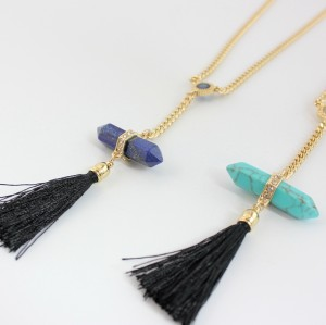 N-6015  New Fashion Gold Plated 2 Colors Green Blue Geometric Natural Stone Turquoise Rhinestone Zircon Black Thread Tassel Pendant Necklace Women Jewelry