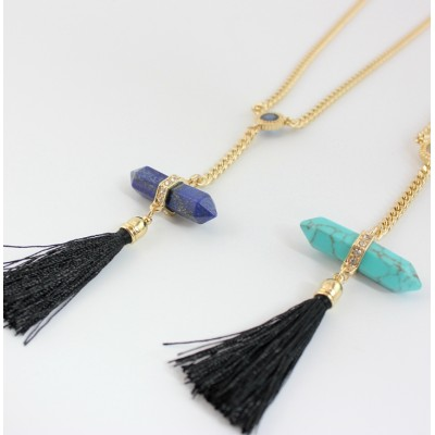 N-6015  New Fashion Gold Plated 2 Colors Green Blue Geometric Natural Stone Turquoise Rhinestone Zircon Black Thread Tassel Pendant Necklace Women Jewelry