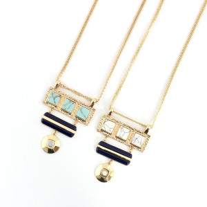 N-6014 New Fashion Jewelry Chain Link Turquoise Pendant Necklace Simple Design Jewelry for Women Girl Nice Gift