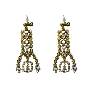 E-3678  New Fashion 2 Colors Gold Silver Plated Rhinestone Crystal Hollow Out Long Dangle Earrings Females Jewelry
