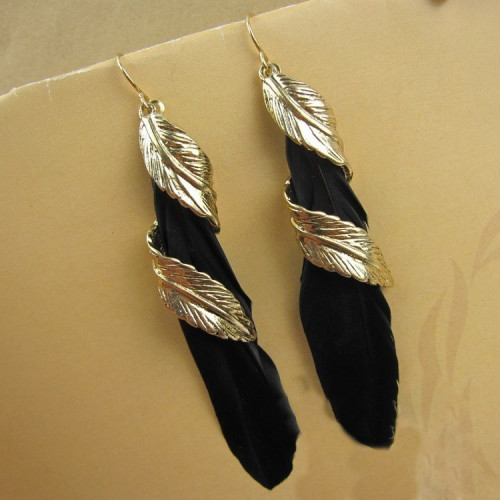 E-3682  Vintage Bronze Feather Earrings for Women New Charming Ethnic Jewelry Dangle Earrings