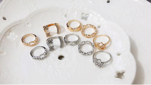R-1314   5pcs/set fashion finger ring gold silver plated charm rhinestone heart and flower shape knuckle rings for women jewelry