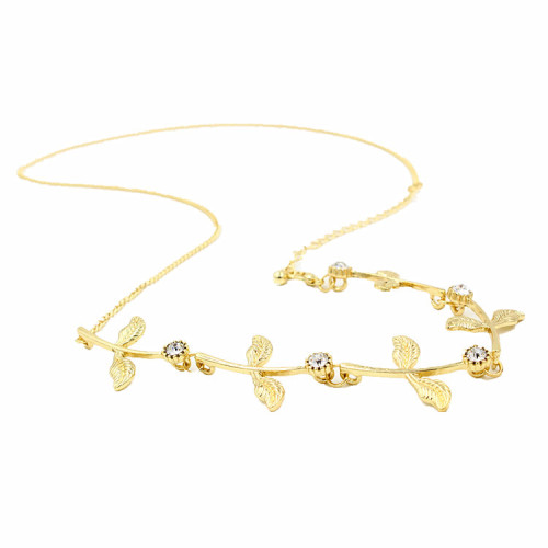 F-0300  New Fashion Jewelry Gold Metal Leaf Hair Chain Women Flower Head Bands Hair Accessories for Girl