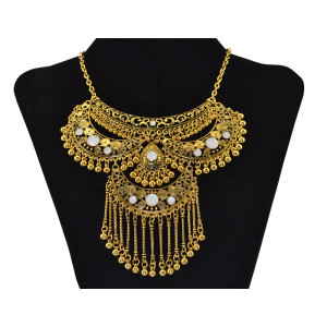 N-6024   New Fashion Bohemia Style 2 Colors Silver Gold Plated Alloy Hollow Out Moon Shape Crystal Round Ball Tassel Statement Necklace Women Jewelry