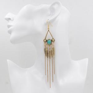 E-3683  Bohemian retro style unique silver gold plated natural turquoise long tassel leaf pendant dangle earrings