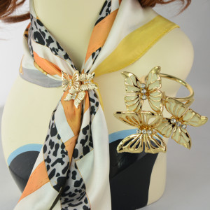R-1315  New Fashion Gold Plated 3 Colors White Pink Black Charm Rhinestone Butterfly Scarf Buckle Brooch Women Accessories