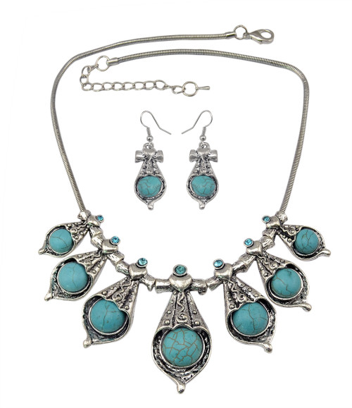 N-6023 E-3681  Bohemian style tibet silver snake chain blue rhinestone turquoise natural stone pendant necklace and earring sets