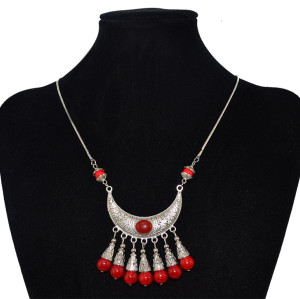N-6030  Bohemia Style Vintage Silver Plated Snake Chain Red/Green Turquoise Beads Tassel Big Flower Pendants Necklaces for Women Jewelry