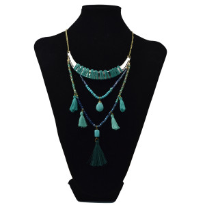 N-6032  Fashion Geometric Chain Tassel Turquoise Beads Bohemian Necklace Gypsy Ethnic Statement Necklace for Women