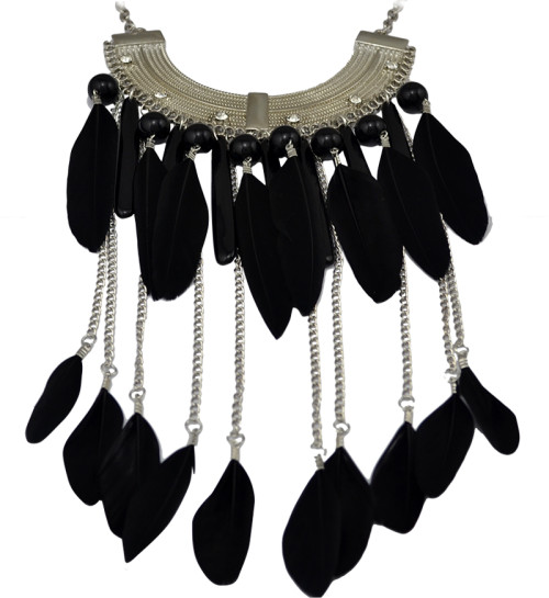 N-6035 New Fashion Alloy Rhinestone 3 Colors Blue Black Colorful Beads Bar Feather Chain Tassel Long Necklace Women Pendant Necklace