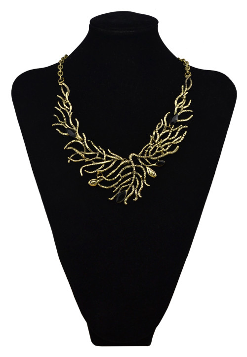 N-6039  2016 Newest Tree Branch Shape Black Resin Bead Vintage Gold/Silver Plated Chain Statement Choker Necklaces Women Jewelry