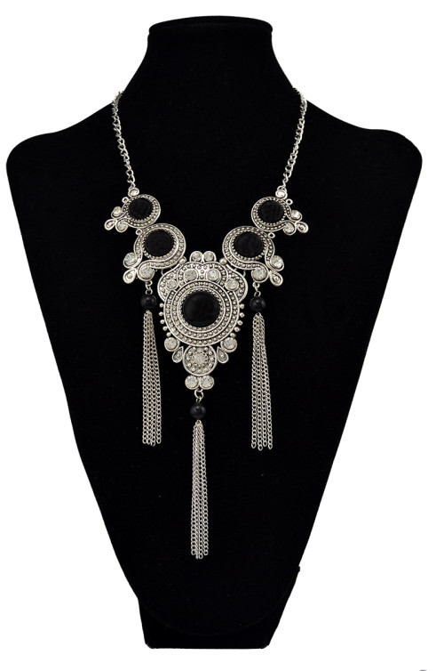 N-6038  Bohemia Style Silver Plated Turquoise Beads Bib Statement Necklace Charm Rhinestone Tassel Chain Pendant Necklaces for Women Jewelry