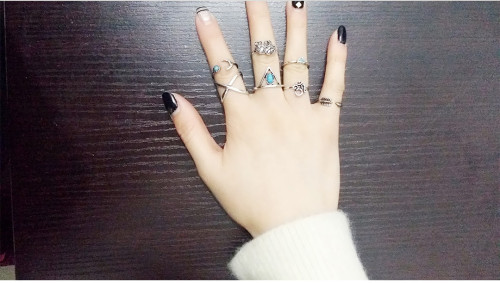 R-1323  7Pcs/set Bohemian Style Vintage Silver/Gold Plated Elephant Arrow Triangle Moon Shape Nail Midi Rings for Women Jewelry