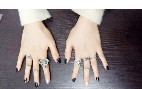 R-1321  8Pcs/set Bohemian Style Vintage Silver Plated Elephant sets Triangle Nail Midi Rings for Women Jewelry