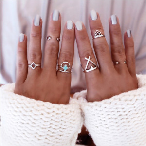 R-1322 6 Pcs/set Bohemian Style Vintage Silver Alloy Arrow Geometric Shape Nail Midi Rings Sets Women Jewelry