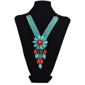 N-6047 Fashion Ethnic Natural Turquoise Rope Chain Tibetan Green/Cream Flower Tassel Long Pendant Necklaces for Women Jewelry