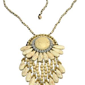 N-6046  Bohemia Beads Chain Handmade Boho Vintage Design Big Fan Shape Pendant Necklace Multilayer Turquoise Tassel Long Necklaces for Women