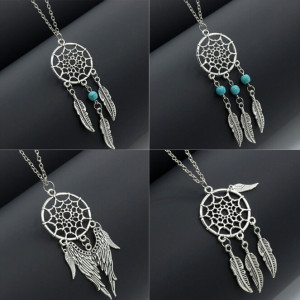 N-6048  Bohemian style 4types Silver Plated Chain leaf Pendant Necklaces for Women Jewelry
