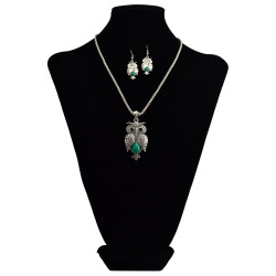 N-6041  Bohemian vintage silver snake chain turquoise green bead stone lovely ox head and fox owl pendant necklace bracelet earrings