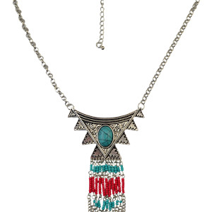 N-6052  Bohemian Style Silver/Gold Bib Statement Necklace Resin Beads Long Tassel Pendant Necklaces for Women Jewelry