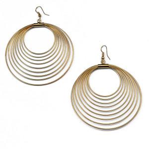 E-3691  European style gold plated  punk big round pendant hook dangle earrings for women