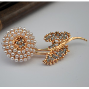 P-0309  2016 Nw Fashion Gold Plated Alloy White Beads Flower Leaves Rhinestone Females Collar Brooch Pin Jewelry