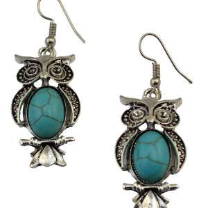 E-3690 Bohemian Fashion style silver plated punk tiny cute owl pendant hook dangle earrings