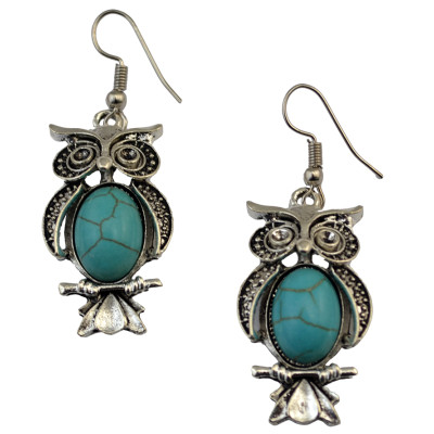 E-3690 Bohemian Fashion style silver plated punk tiny cute owl pendant hook dangle earrings