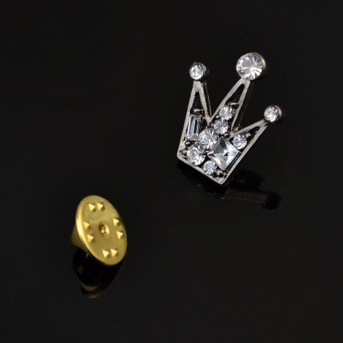 P-0308  Fashion Brooches Unique Charm Rhinestones Vintage Silver Plated Crown Shape  Brooch Buckle For Women Men Accessories
