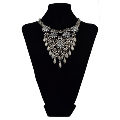 N-6055  New Vintage Gold/Silver Chain Hollow Flower Long Tassel Waterdrop Pendant Crystal Choker Collar Statement Necklace for Women Jewelry