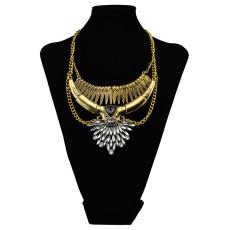 N-6056  Retro gold silver plated triangle rhinestone charm moon shape pendant necklace