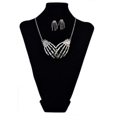 N-6060   E-3697 Punk style retro silver plated tiny bone hands pendant necklace set fashion jewelry