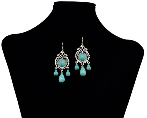 E-3708 Bohemian style 2 styles oval shape and round shape silver plated natural turquoise pendant hook earrings for women jewelry