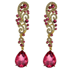 E-3398 European style gold / silver plated alloy full rhinestone luxury crystal statement large long  earrings
