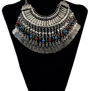 N-6066   E-3696 bohemian style vintage silver plated alloy chunky necklaces colorful beads coin tassel pendant statement necklaces long hook dangle earrings jewelry sets