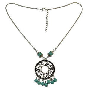 N-6064 Bohemian style silver thin chain hollow out vintage round flower turquoise beads ball tassel pendant necklace