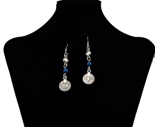 E-3696 bohemian style vintage silver plated alloy chunky necklaces colorful beads coin tassel pendant statement necklaces long hook dangle earrings jewelry sets