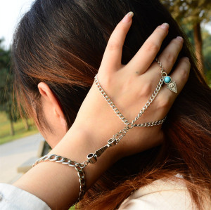 B-0667 Bohemian Style retro silver plated alloy blue bead bracelet jewelry
