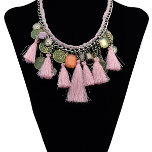 N-6069 Bohemian Handmade Weave Thread Chain pink colorful threads tassel crystal coin fringe pendant choker necklaces females jewelry
