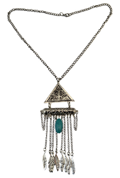 N-6075   Bohemian Vintage Silver/Gold Chain Turquoise Bead Leaves Triangle Long Tassel Pendant Necklace for Women Jewelry
