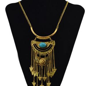N-6074    Bohemian Style Silver/Gold Bib Statement Necklace Resin Bead Long Tassel Moon Shape Pendant Necklace Women Jewelry