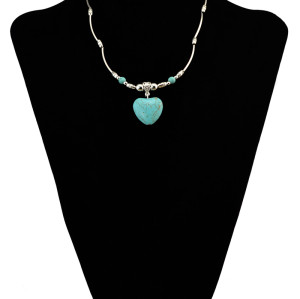 N-6071  Bohemian vintage silver thin chain metal beaded turquoise stone heart choker bib necklace