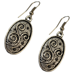 E-3702 Vintage boho silver plated oval shape ethnic dangling earrings for women