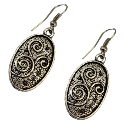 E-3702 Vintage boho silver plated oval shape ethnic dangling earrings for women