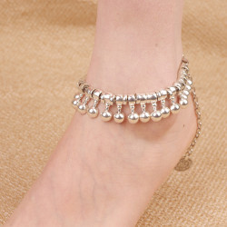 B-0665 High Quality Silver Chain Fashion Bangle Handmade Floral Coin Boho Gypsy Beachy Ethnic Bracelets For Women Jewelry Adjustable