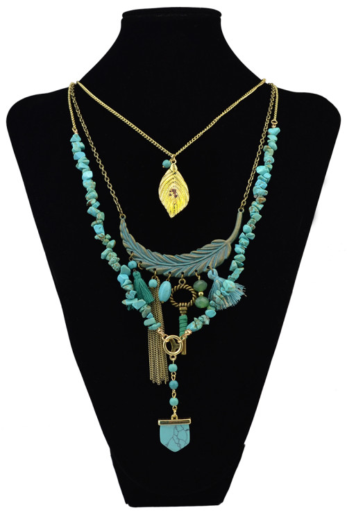 N-6070   Bohemian Vintage Gold Multilayer Chain Turquoise Bead Leaves Feather shape Long Tassel Pendant Necklace for Women Jewelry
