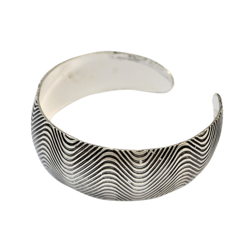 B-0664 Bohemian Tibetan Style Vintage Silver Plated Carving Stripe Wide Adjustable Cuff Bangles for Women Jewelry