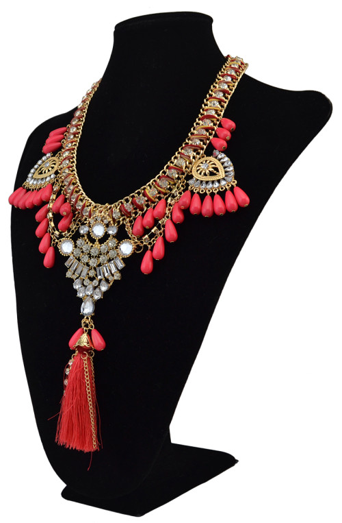 N-6080    Bohemian Handmade 5colors Green,Black,Pink,White,Red  Crystal Pearl Beads Tassel Choker Statement Necklace for Women Jewelry